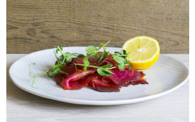 Double Cured Beetroot Smoked Salmon Sliced Side (Min 1kg)