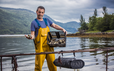 Oyster Farmer on Loch Fyne.
