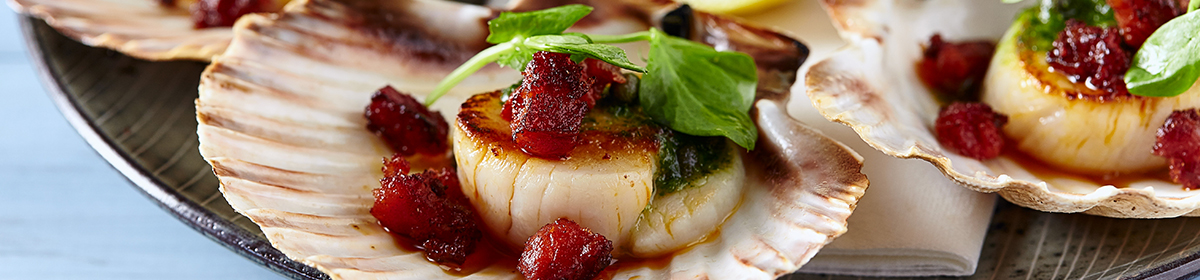 Scallops with Chorizo and Salsa Verde